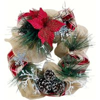 product image holiday time 20 inch mesh wreath pinecone durable construction