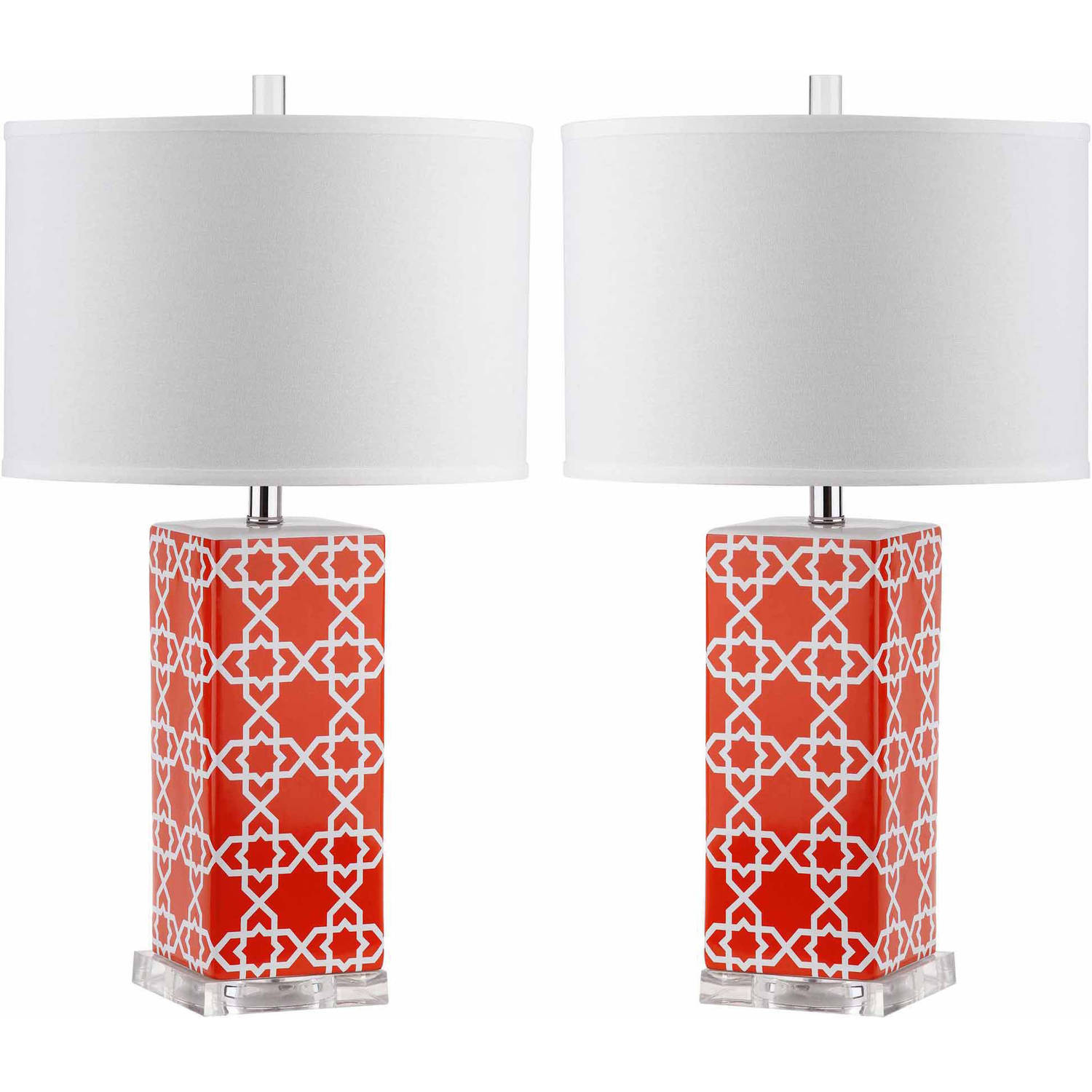 Safavieh Quatrefoil Table Lamp with CFL Bulb, Multiple Colors, Set of 2