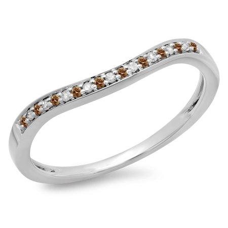 0.10 Carat (ctw) 10K White Gold Round Cut Champagne & White Diamond Ladies Stackable Anniversary Wedding Band 1/10 CT