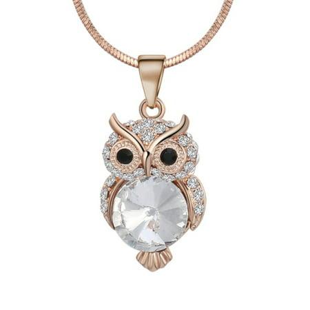 Goldplated Anti-Tarnish Cute Owl Bird Pendant Snake Chain Czech Crystal Necklace (Czech Crystal Necklace)