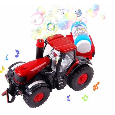 Bubble Blowing Bump N Go Farm Tractor Train Set Lights & Sounds Bubble Toy for Kids](Bubbles Toys)