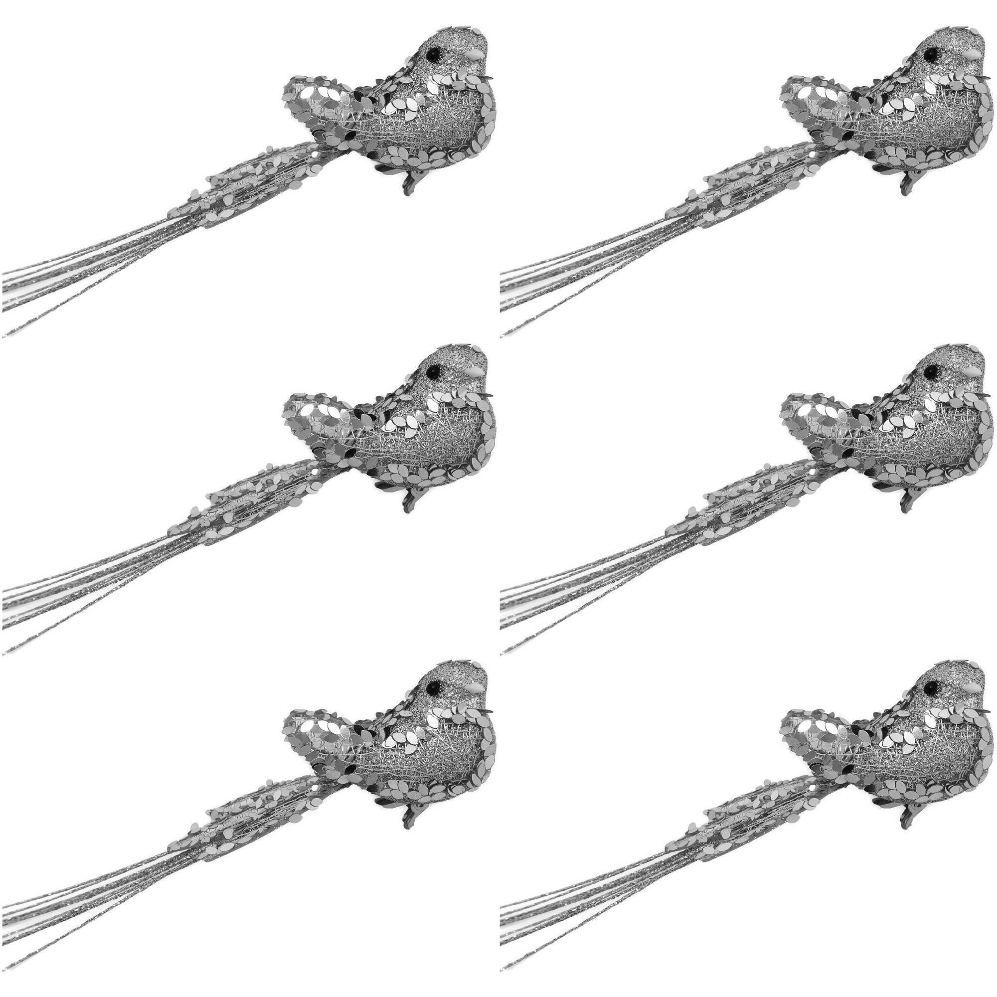 Holiday Time Silver Clip-On Bird Christmas Ornaments, Set of 6