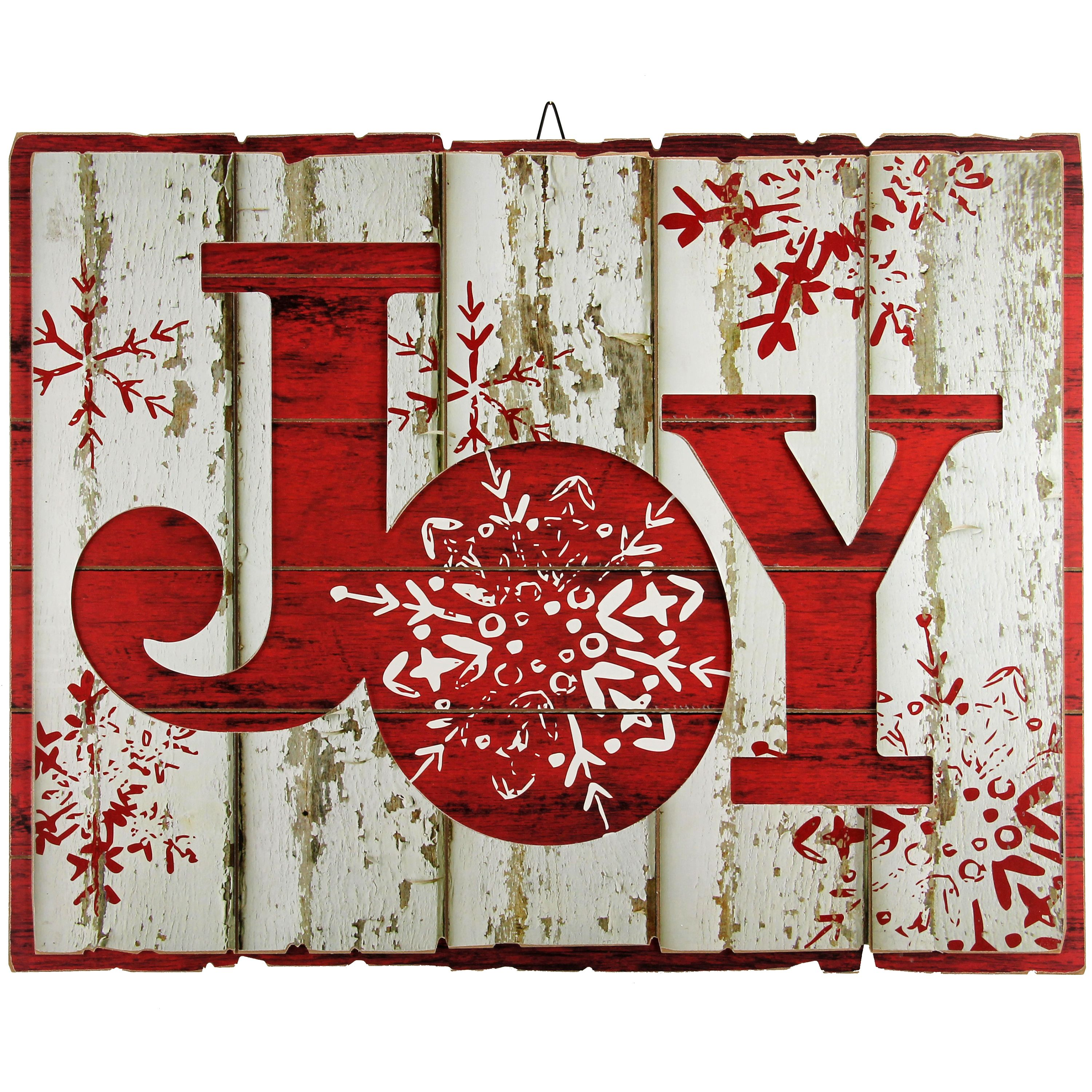 HOLIDAY TIME JOY DISTRESSED WOOD SIGN, 23 X 18 INCH