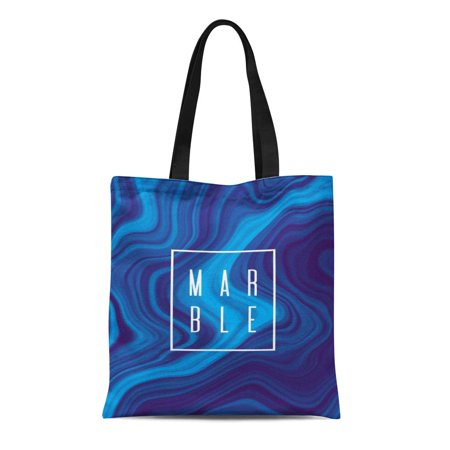 ASHLEIGH Canvas Tote Bag Blue Pattern Abstract Marble Colorful Paint Fluid Wawes Watercolor Durable Reusable Shopping Shoulder Grocery (Best Masking Fluid For Watercolor)