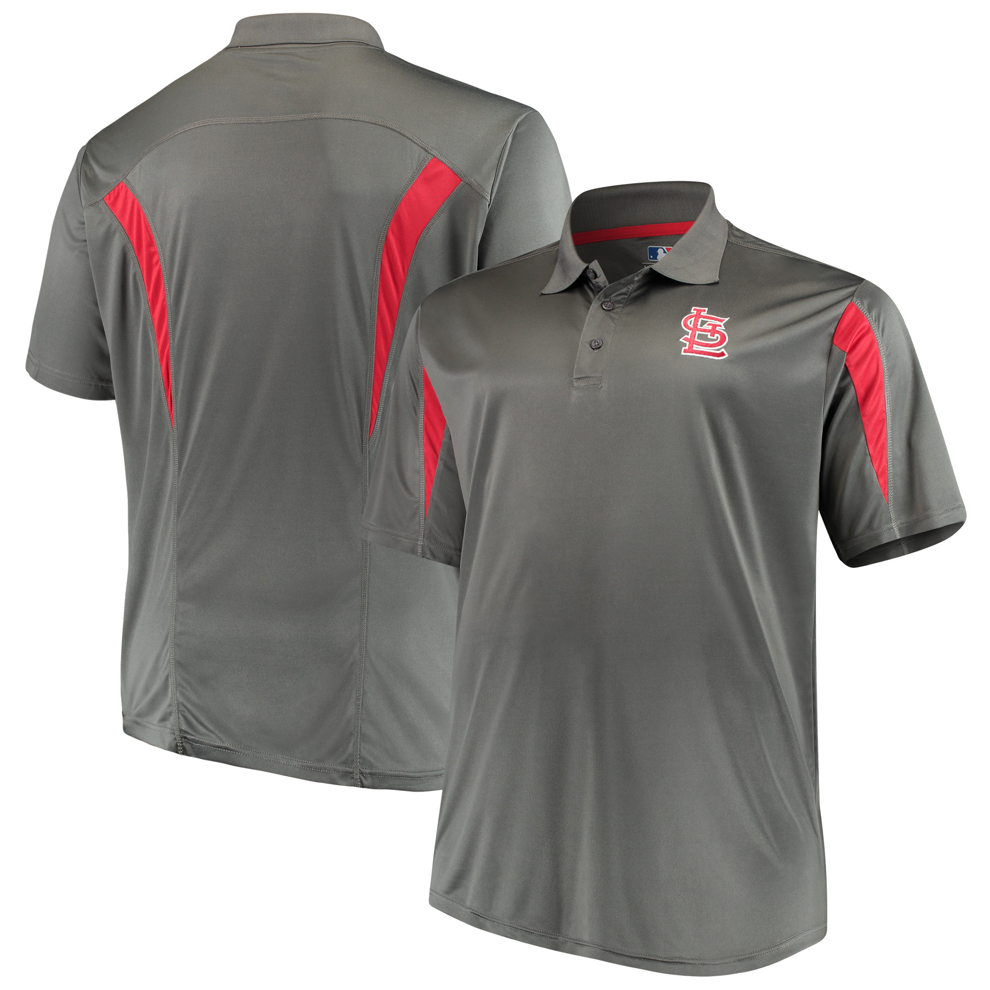 St. Louis Cardinals Majestic Contract Polo - Charcoal/Red