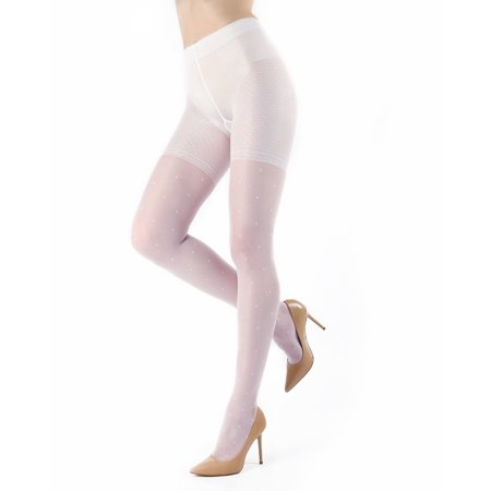 6f145c65d6d14 MeMoi Elegance Sheer Allover Dot Pantyhose | Hosiery by MeMoi X Large /  Bianco ETS05267 - Walmart.com