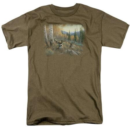 Wildlife Wild Animals Nature Autumn Mule Deer Bucks Lounging Adult T-Shirt (Wild Animal T-shirts)