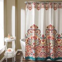 Clara Shower Curtain Turquoise/Tangerine 72x72