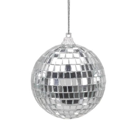 Christmas Tree Decorations Silver Mirror Ball Ornaments - 6 Pieces Per Package - Diameter 2.5 In., Disco ball Christmas ornament By Darice From USA