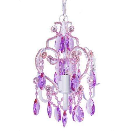 Tadpoles Beaded 3-Bulb Mini Chandelier, Lavender Topaz