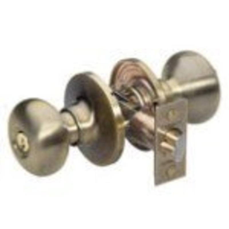 Entry Lock, Antique Brass Biscuit Master Lock Doorknobs BCO0105 071649103438