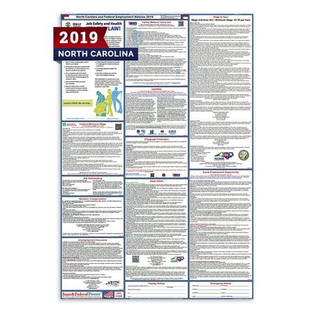 2019 North Carolina State and Federal Labor Law Poster (Laminated)