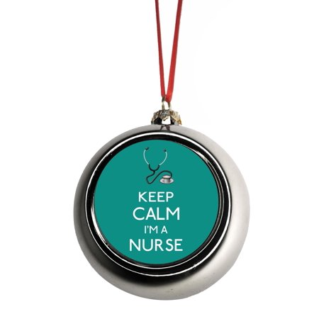 Ornaments Medical Keep Calm I'm a Nurse in Teal Gift Appreciation Bauble Christmas Ornaments Silver Bauble Tree Xmas Balls ()