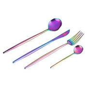 4 Pieces Colorful Rainbow Stainless Steel Tableware Set Flatware Cutlery Set Including Steak Fork Spoons Knife Dinnerware Anti-Rust Utensil Set