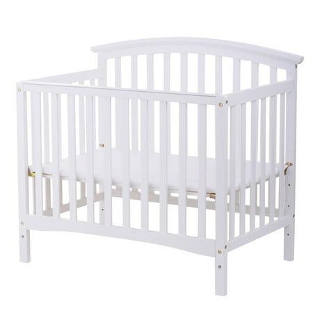 Costway Pine Wood Baby CribToddler Bed Convertible Nursery Infant Newborn Coffee/ White