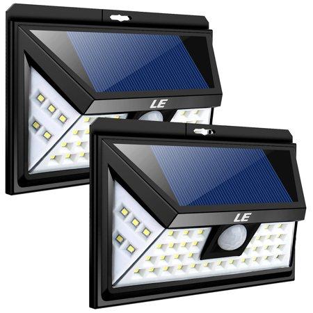 Lighting EVER 4W 6000K 550 Lumens Motion Sensor Solar Wall Lights, IP65 Waterproof LED Wall Light Fixtures, Pack of 2