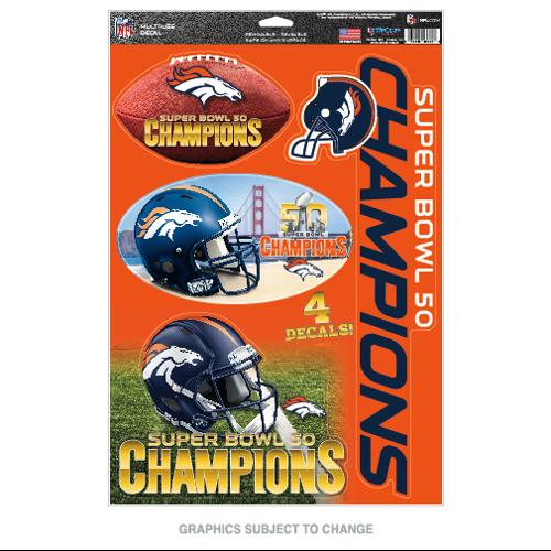 Denver Broncos Official NFL 11 inch  x 17 inch  Super Bowl 50 Champions MultiUse Car Decal Sheet by WinCraft