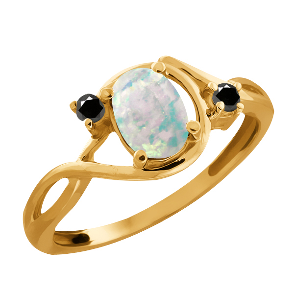 0.66 Ct Oval White Simulated Opal and Diamond Gold Plated 925 Silver Ring