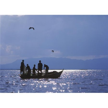 Fishermen Pulling Fishing Nets On Small Boat On Lake Chilwa Poster Print, 18 x 13 - image 1 of 1