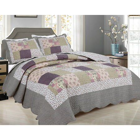 All for You 3pc Reversible Quilt Set, Bedspread, and Coverlet with Flower Prints -99- Plum Pink Patchwork Prints , size runs small, measure before purchase( Queen 86