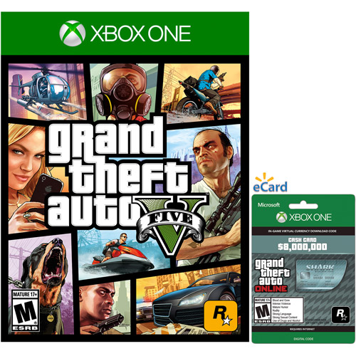 Grand Theft Auto V Game with Megalodon Shark Cash Card (Xbox One)