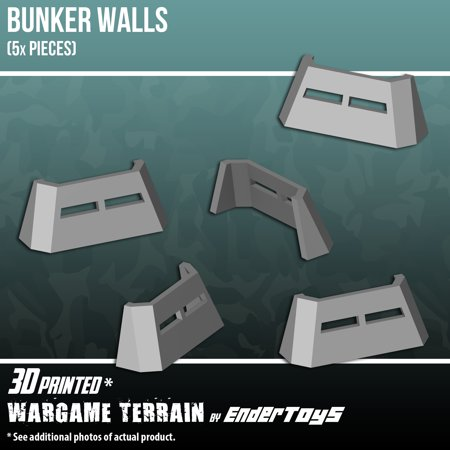 Bunker Walls, Terrain Scenery for Tabletop 28mm Miniatures Wargame, 3D Printed and Paintable,