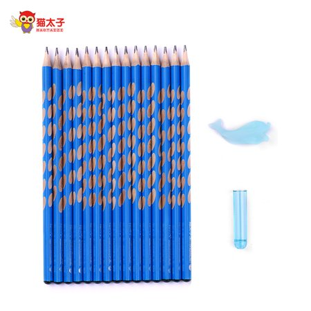 MAOTAIZI Special Design Hole HB Pencil School Supplies Wood Triangle Pencils Packs Bulk Pencils Presharpened for Kids Writing Posture Correcting Set of Grip/Cap/10pcs Pencils Blue ()