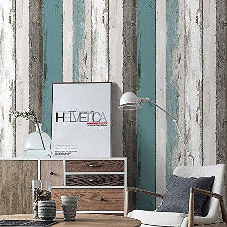 Haokhome H006 Wood Panel Fc Energy L And Stick Wallpaper 23 6 X 19 7ft Blue
