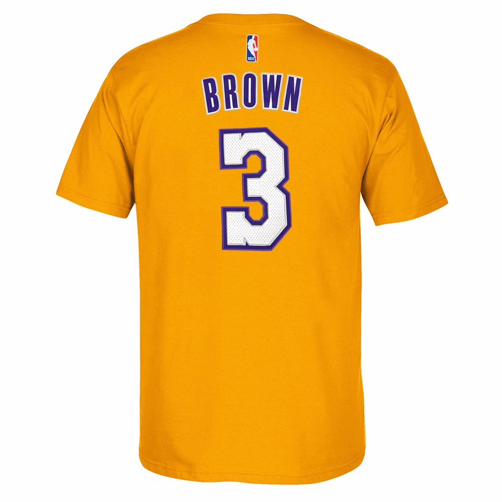 Shannon Brown Los Angeles Lakers NBA Adidas Gold Player Name & Number Team Jersey  T-Shirt For Men