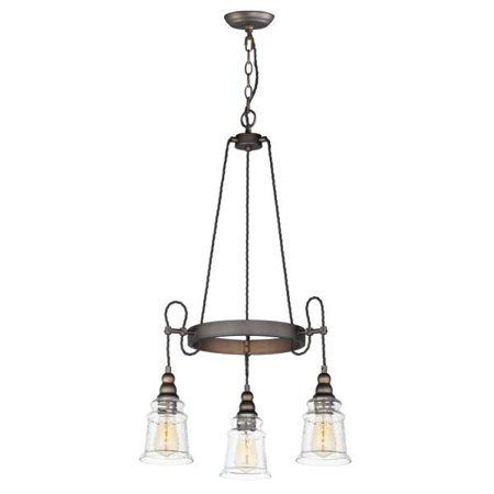 Maxim Lighting Revival - Three Light Chandelier, Oil Rubbed Bronze Finish with Hammer (Revival Glass)