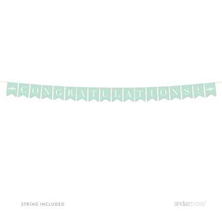 Congratulations! Floral Mint Green Wedding Hanging Pennant Party Banner with String](Mint Wedding)