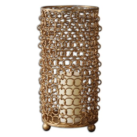 "15.25"" Contemporary Hyde Gold Leaf Metal Chain Pillar Candle Holder"