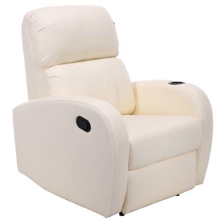 Fine Costway Manual Recliner Chair Single Sofa Pu Leather Club Home Theater Furniture Beige Dailytribune Chair Design For Home Dailytribuneorg