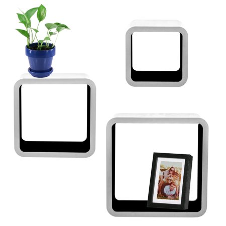 3pc Cozee Square Wood Floating Shelf Set Black White Wall Mounted Cube Shelves