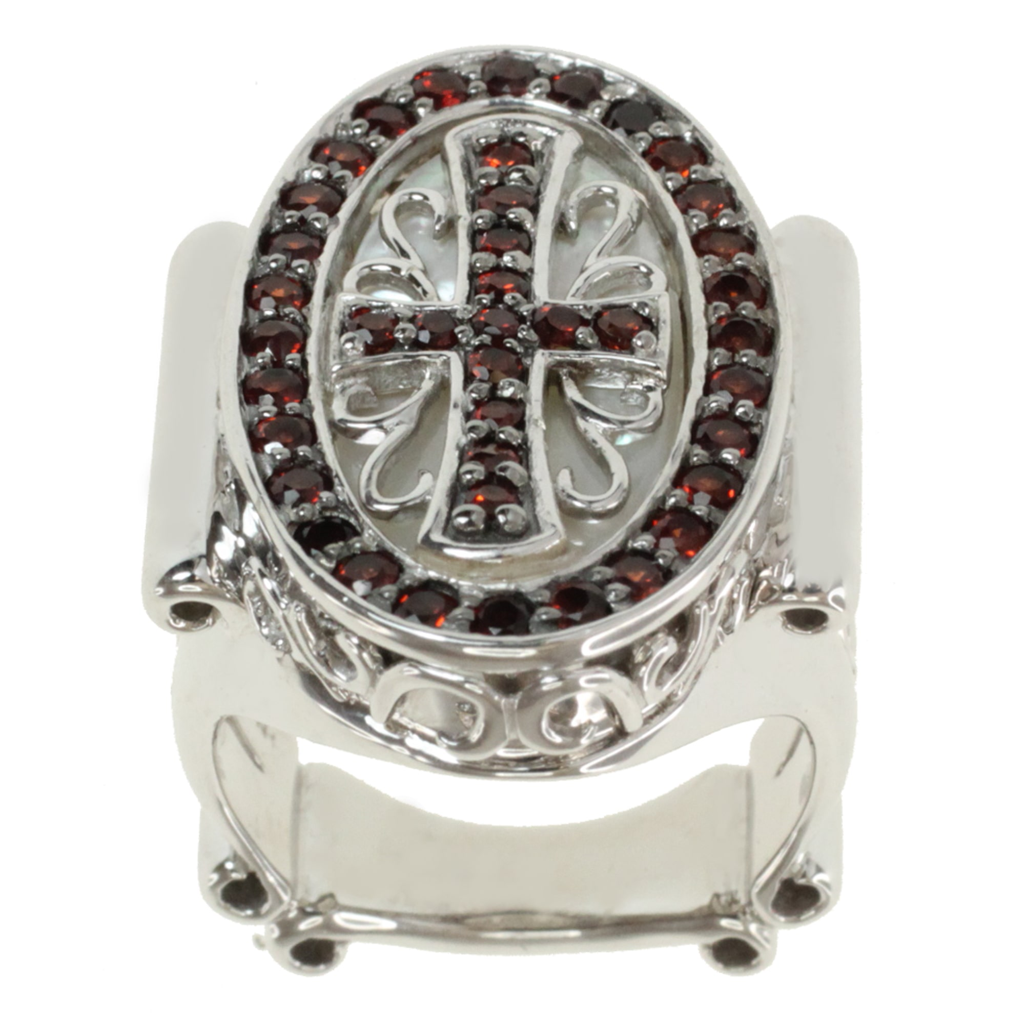 Dallas Prince  Sterling Silver Garnet and Mother of Pearl 'Cross' Ring