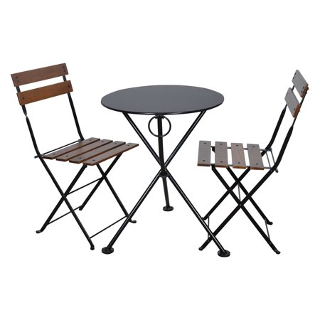 Furniture Designhouse French Cafe Bistro Chestnut Wood 3 Piece Round Folding Patio Set