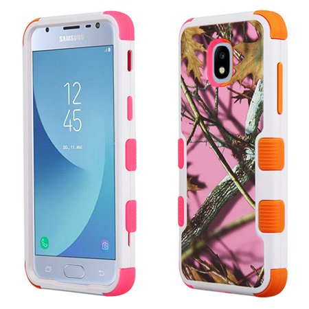 Samsung Galaxy J3 2018, J337, J3 V, J3 3rd Gen, J3 Star, J3 Achieve, Express Prime 3 Phone Case Tuff Hybrid Shockproof Rubber Dual Layer Soft Protective Hard Case Cover Textured Pink Oak Phone