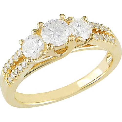 1 Carat T.W. 3-Stone Round Diamond Ring in 10kt Yellow Gold