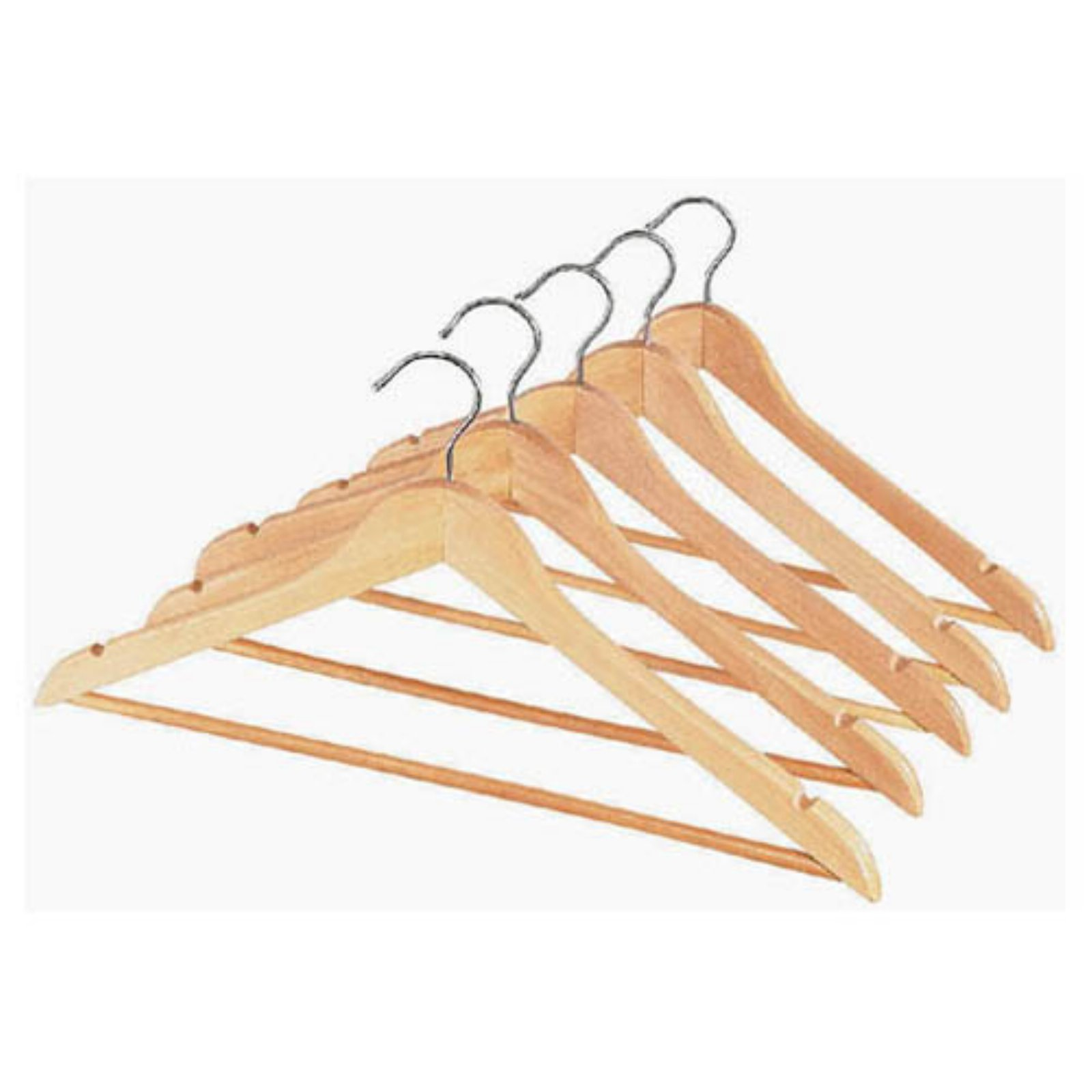 Whitmor GRADE A Natural Wood Suit Hangers Set of 5