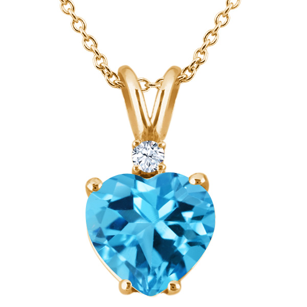 2.33 Ct Heart Shape Swiss Blue and White Topaz 14K Yellow Gold Pendant