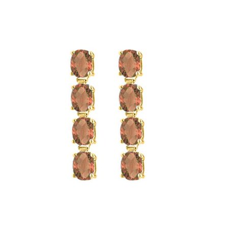 Fine Jewelry Vault UBER57Y14SQ 14K Yellow Gold Drop Earrings of Oval Cut Smoky Quartz with Total Gem Weights of Eight Carat