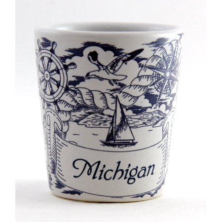 Michigan Nautical Pencil Sketch Ceramic Shot (Michigan Shot Glass)