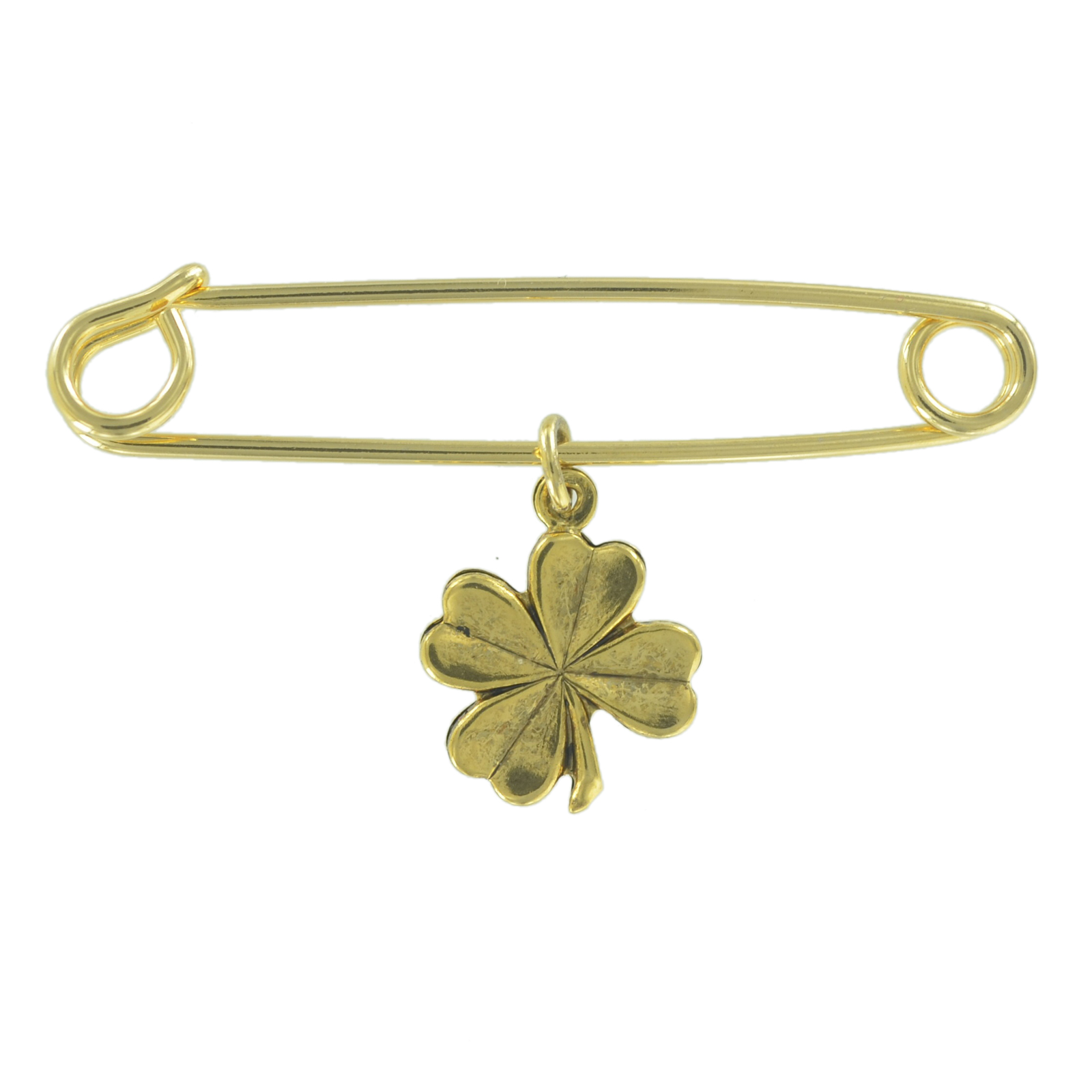 """Safety Pin Brooch 2"""" Gold Tone Four Leaf Clover Good Luck Irish Symbol Charm Dangle Middle by Ky & Co"""