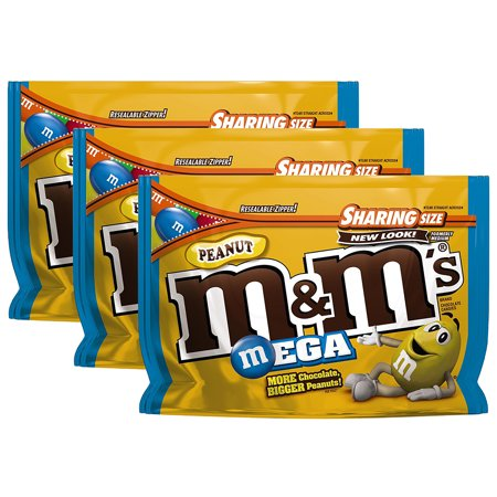 (3 Pack) M&M's, Mega Peanut Chocolate Candies, 9.6 Oz](Peanut Butter Chews Halloween Candy)