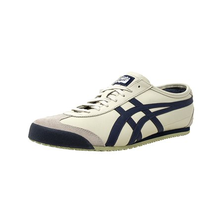 Tiger Leather Sneakers (Onitsuka Tiger Mexico 66 Birch / India Ink Latte Ankle-High Leather Fashion Sneaker - 14M 12.5M )