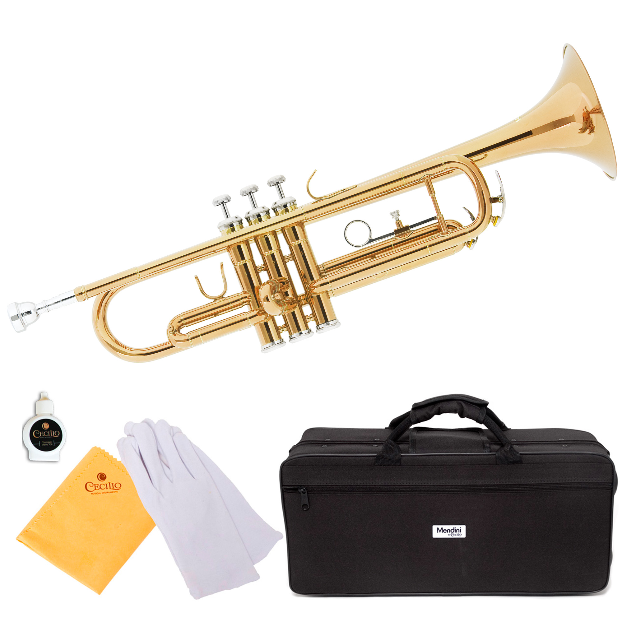 Mendini by Cecilio MTT-L Gold Lacquer Brass Bb Trumpet with Durable Deluxe Case and 1 Year... by Cecilio Musical Instruments