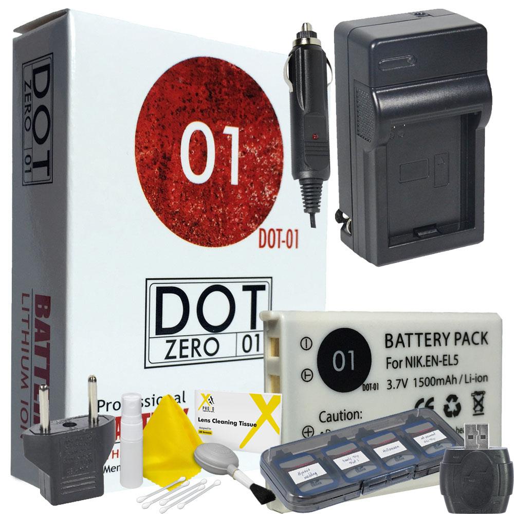 DOT-01 Brand 1500 mAh Replacement Nikon EN-EL5 Battery and Charger for Nikon P510 Digital Camera and Nikon ENEL5 Accessory Bundle