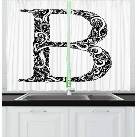 Black White Design (Letter B Curtains 2 Panels Set, Black and White Abstract Swirls Classic Design Alphabet Uppercase B Symbol Print, Window Drapes for Living Room Bedroom, 55W X 39L Inches, Black White,)