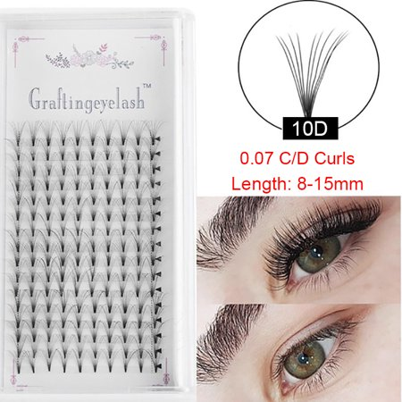 16 Rows,10D Premade Volume Fans Eye Lashes Extensions Thickness 0.07mm C/D Curl Black Soft Individual False Eyelashes Makeup Fake Lashes  8-15mm  C Curls-8mm