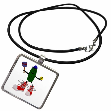 3dRose Funny Pickleball Pickle in Red Sneakers - Necklace with Pendant (Best Shoes For Pickleball)